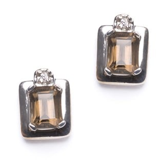 Sterling Silver Smokey Quartz and Cubic Zirconia Earrings