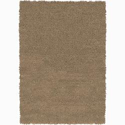 Handwoven Light Brown Mandara New Zealand Wool Shag Rug (2'6 x 7'6)