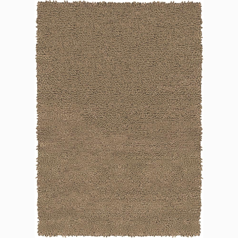 Handwoven Mandara Light Brown New Zealand Wool Shag Rug (2' x 3')