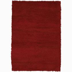 Handwoven Red Mandara New Zealand Wool Shag Rug (7'9 x 10'6)