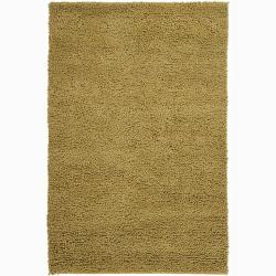 Handwoven Gold Mandara New Zealand Wool Shag Rug (5' x 7'6)