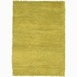Handwoven Light Green Mandara New Zealand Wool Shag Rug (5' x 7'6)