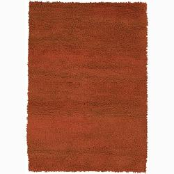 Handwoven Orange Mandara New Zealand Wool Shag Rug (9' x 13')