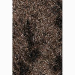 Handwoven Brown/Beige Mandara Shag Rug (7'9 Round)