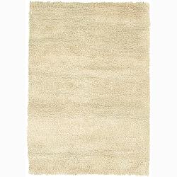 Handwoven Ivory Mandara New Zealand Wool Shag Rug (5' x 7'6)