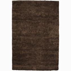 Handwoven Dark Brown Mandara New Zealand Wool Shag Rug (7'9 Round)