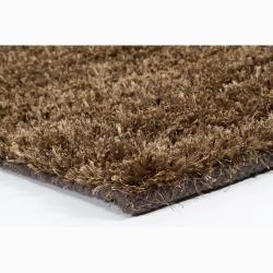 Handwoven Dark Brown Mandara New Zealand Wool Shag Rug (5' x 7'6)