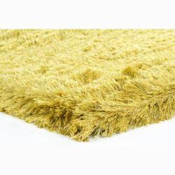 Handwoven Yellow/Lime-Green Mandara Shag Rug (5' x 7'6)