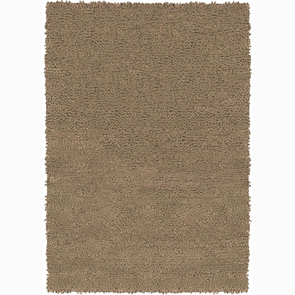Handwoven Light Brown Mandara New Zealand Wool Shag Rug (7'9 Round)