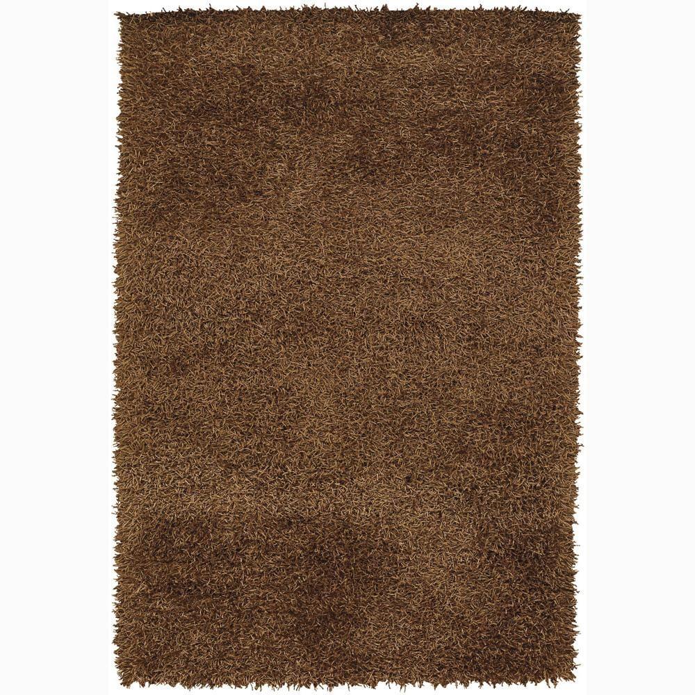 Handwoven 1.5-Inch Brown Mandara Shag Rug (5' x 7'6)