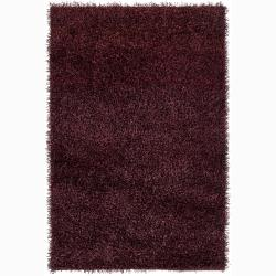 Handwoven Dark Brown Mandara Shag Area Rug (7'9 Round)