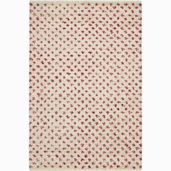 Handwoven Red/White Mandara New Zealand Wool Rug (5' x 7'6)