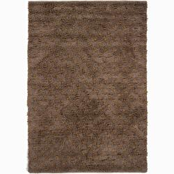 Brown Shag Hand-woven Mandara New Zealand Wool Rug (2' x 3')