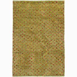 Handwoven Red/Yellow Green Mandara New Zealand Wool Rug (9' x 13')