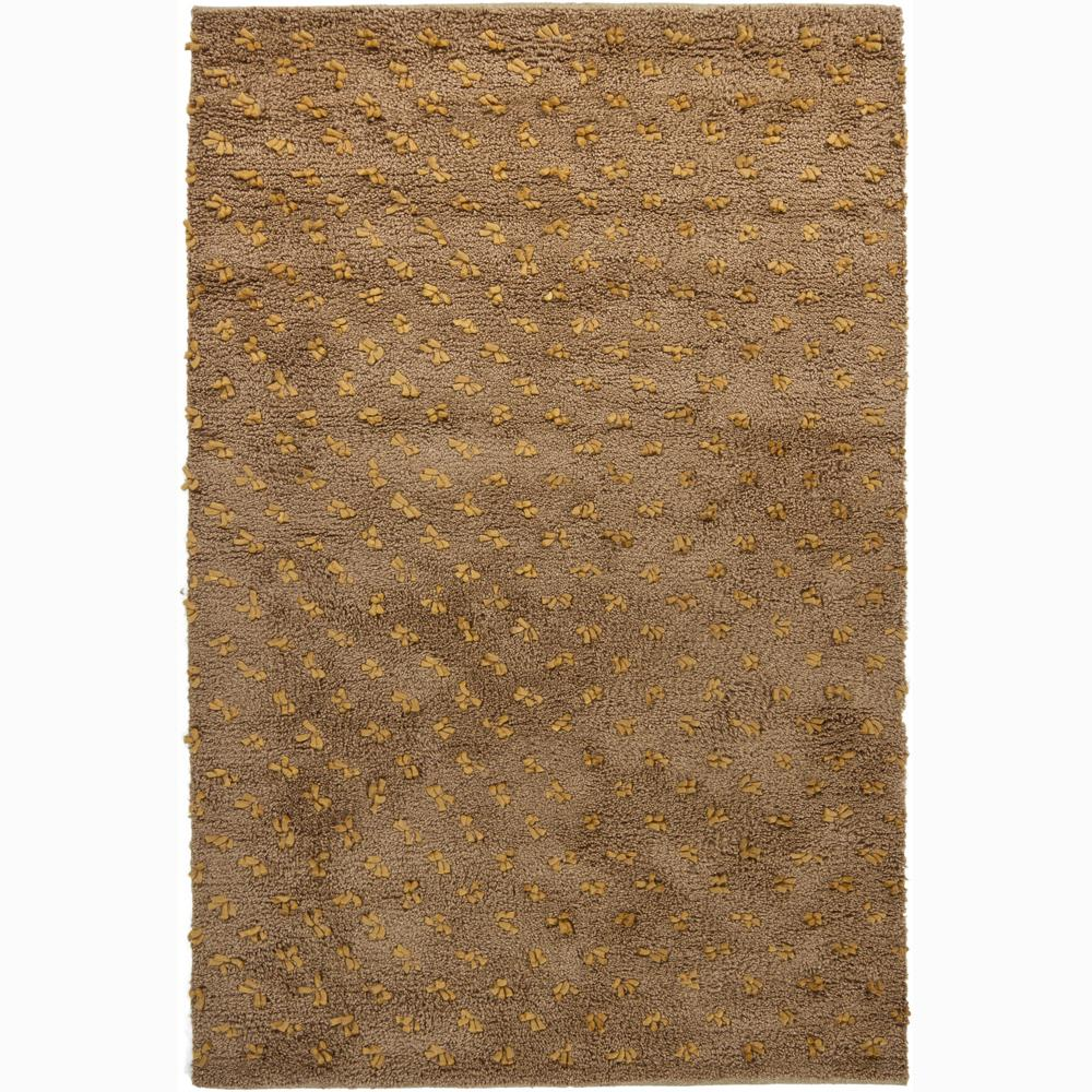 Handwoven Light Gold/Brown Mandara New Zealand Wool Rug (5' x 7'6)