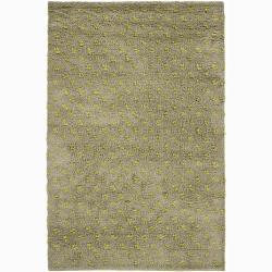 Handwoven Light Green Mandara New Zealand Wool Rug (9' x 13')