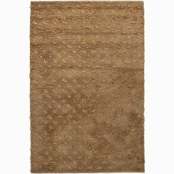 Handwoven Light Brown Mandara New Zealand Wool Rug (9' x 13')