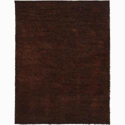 Handwoven Dark Brown Mandara New Zealand Wool Rug (7'9 Round)