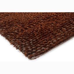 Handwoven One-Inch Brown Mandara New Zealand Wool Rug (5' x 7'6)