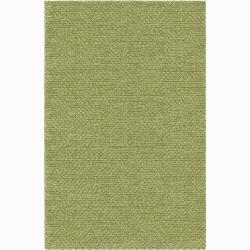 Handwoven One-Inch Green Mandara New Zealand Wool Rug (2'6 x 7'6)