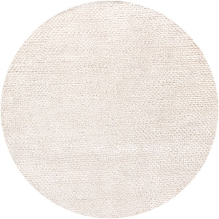 Handwoven White Mandara New Zealand Wool Rug (7'9 Round)