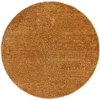 Handwoven Brown Mandara New Zealand Wool Rug (7'9 Round)
