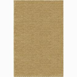 Handwoven Beige Mandara New Zealand Wool Rug (5' x 7'6)