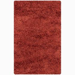 Handwoven Two-Inch Red Mandara New Zealand Wool Shag Rug (7'9 x 10'6)