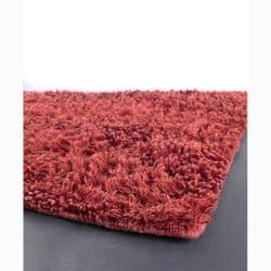 Handwoven Deep Red Mandara New Zealand Wool Shag Rug (5' x 7'6)