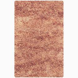 Handwoven Orange/Beige Mandara New Zealand Wool Shag Rug (9' x 13')