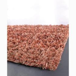 Handwoven Beige/Orange Mandara New Zealand Wool Shag Rug (7'9 Round)