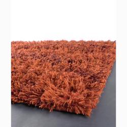 Handwoven Orange Mandara New Zealand Wool Shag Rug (7'9 Round)