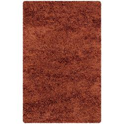 Handwoven Orange Mandara New Zealand Wool Shag Rug (7'9 Round)