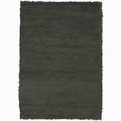Handwoven Charcoal Gray Mandara New Zealand Wool Shag Rug (7'9 Round)
