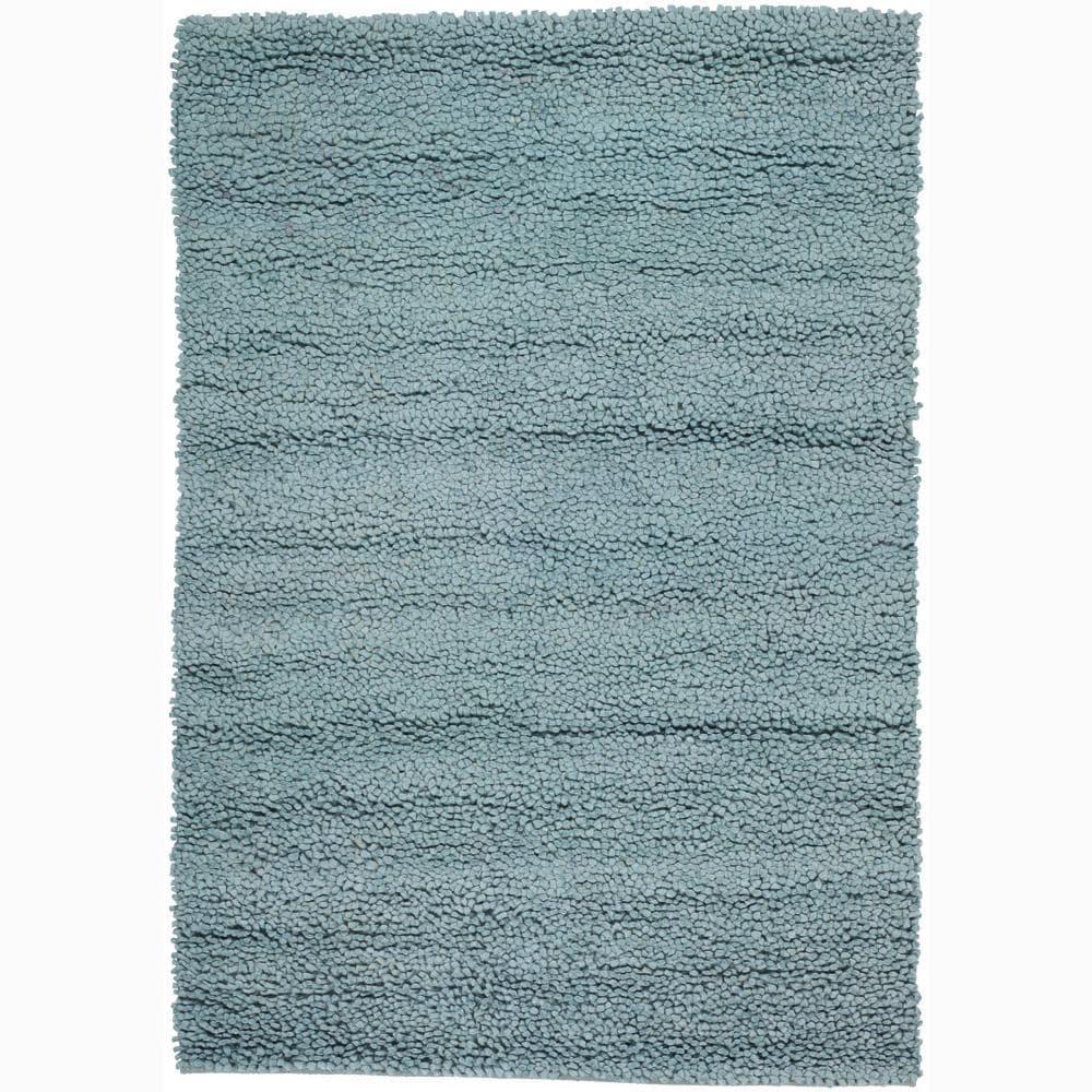 Handwoven Light Blue Mandara New Zealand Wool Shag Rug (9' x 13')