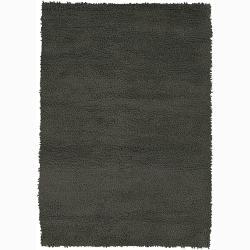 Handwoven Dark Gray Mandara New Zealand Wool Shag Rug (7'9 x 10'6)
