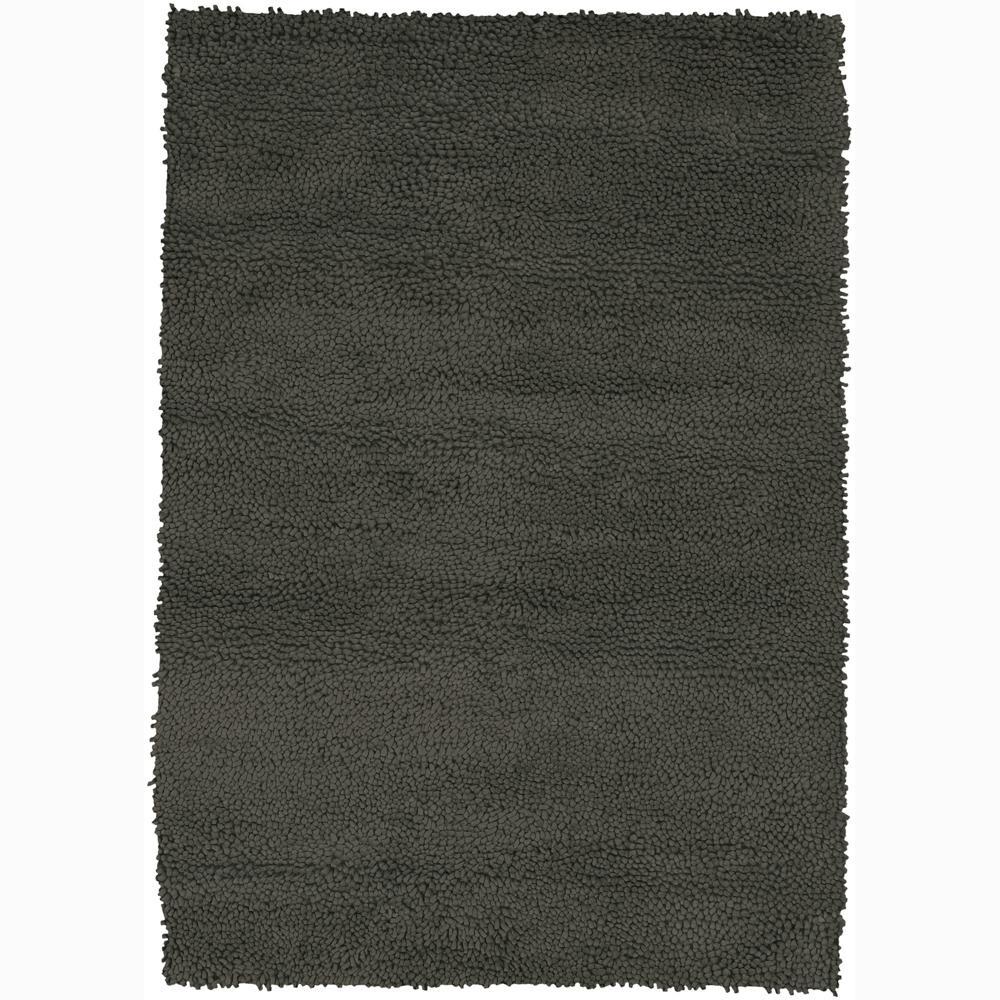 Handwoven Charcoal Gray Mandara New Zealand Wool Shag Rug (5' x 7'6)