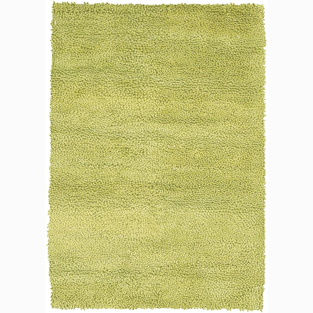 Handwoven Lime-Green Mandara New Zealand Wool Shag Rug (7'9 x 10'6)