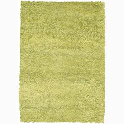 Handwoven Lime-Green Mandara New Zealand Wool Shag Rug (5' x 7'6)