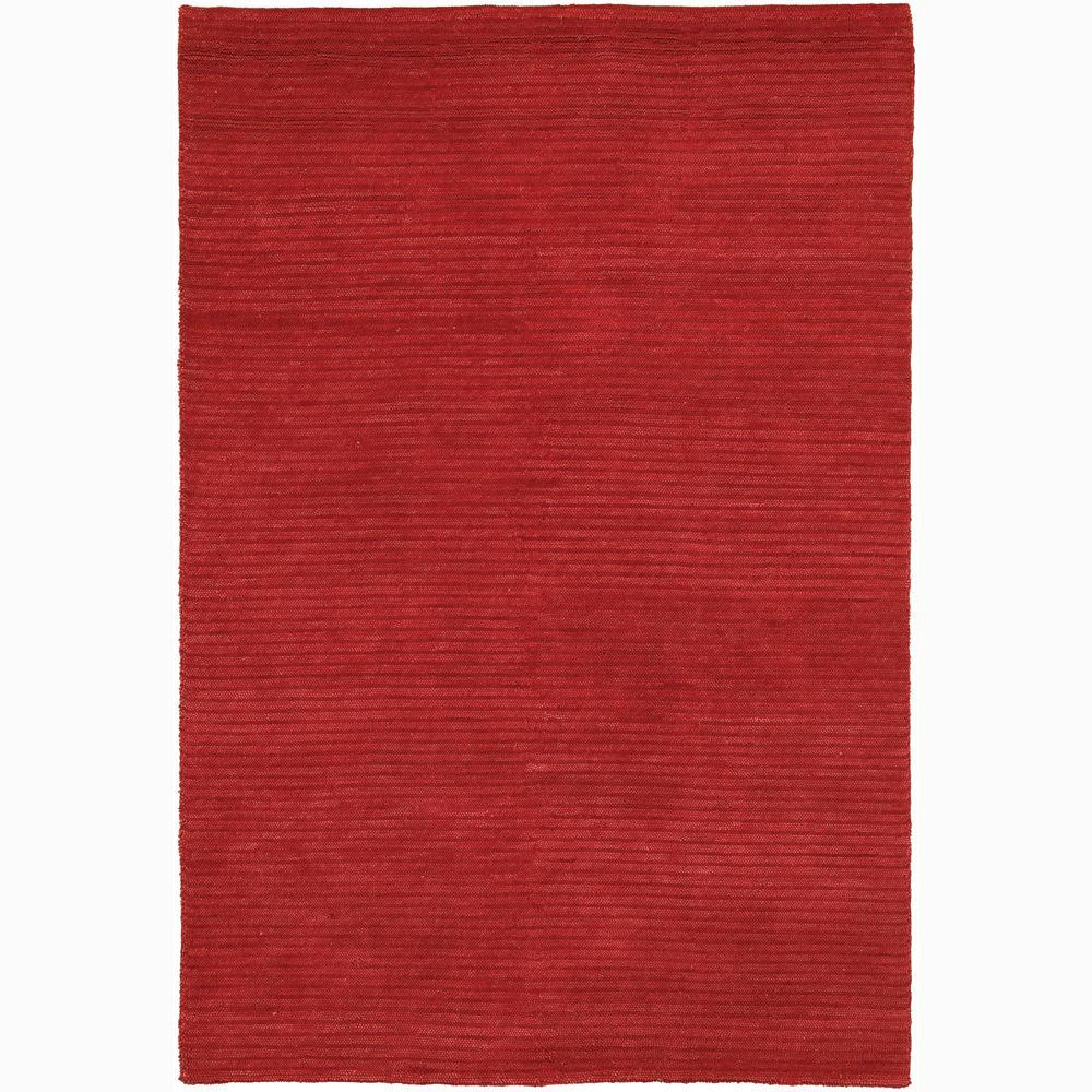 Handwoven Mandara Bright Red New Zealand Wool Shag Rug (2' x 3')