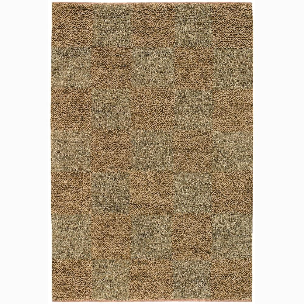 Handwoven Tan/Beige/Brown Mandara New Zealand Wool Shag Rug (2'6 x 7'6)