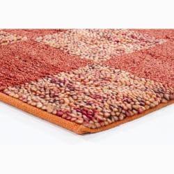 Handwoven Orange/Red/Brown Mandara New Zealand Wool Shag Rug (9' x 13')