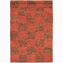 Handwoven Orange/Red/Brown Mandara New Zealand Wool Shag Rug (9' x 13')