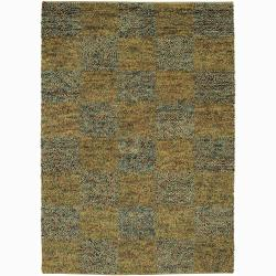 Handwoven Multicolor Checkered Mandara New Zealand Wool Shag Rug (5' x 7'6)