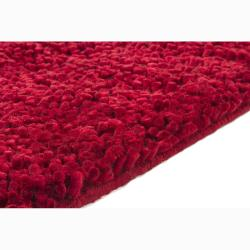 Handwoven One-Inch Red Mandara New Zealand Wool Shag Rug (9' x13')