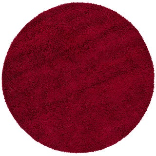 Handwoven Dark Red Mandara New Zealand Wool Shag Rug (7'9 Round)
