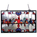 Gathering Birds Art Glass Window Panel