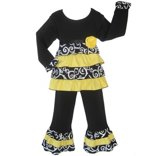 Ann Loren Girls 2-piece Boutique Bumble Bee Rumba Pant Set