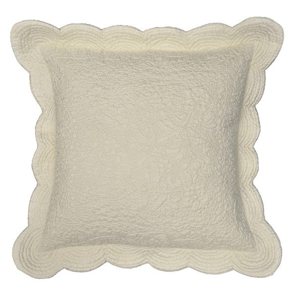 Aramis Ivory Scalloped Edge Decorative Pillow