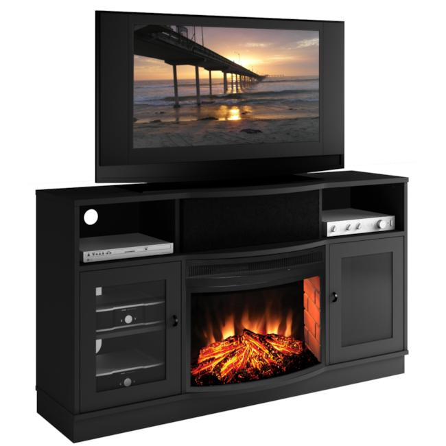 Furnitech Matte Black Electric Fireplace 25-inch TV Stand at Sears.com